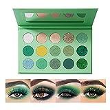 OKENTEN 15 Color Green Eyeshadow Palette, Highly Pigmented Matte Glitter Shimmer Metallic, Halloween Makeup Pallete, Vegan Eye Shadow Powder Long Lasting(2)