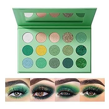 OKENTEN 15 Color Green Eyeshadow Palette Highly Pigmented Matte Glitter Shimmer Metallic Halloween Makeup Pallete Vegan Eye Shadow Powder Long Lasting 2