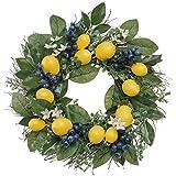 Valery Madelyn 15,7Pouces/40cm Couronne de Fleurs de Printemps,Décoration de Printemps avec des Citrons,Bleuets et Feuilles Artificielles pour Porte d'entrée-pour la Fête des Mères