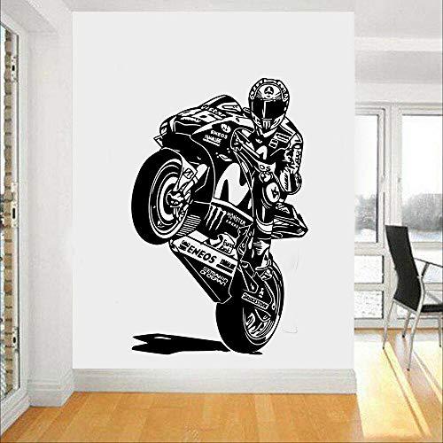 Nuevo motociclista, pegatina de pared de dibujos animados, arte mural, póster DIY, sala de estar, dormitorio, fondo, arte de pared, calcomanía, pegatina de pared A3 57x89cm