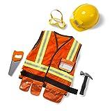 Melissa & Doug- Construction Worker Role-Play Costume Set Tessuto di Alta qualità, Lavabile in Lavatrice, Multicolore, 96020