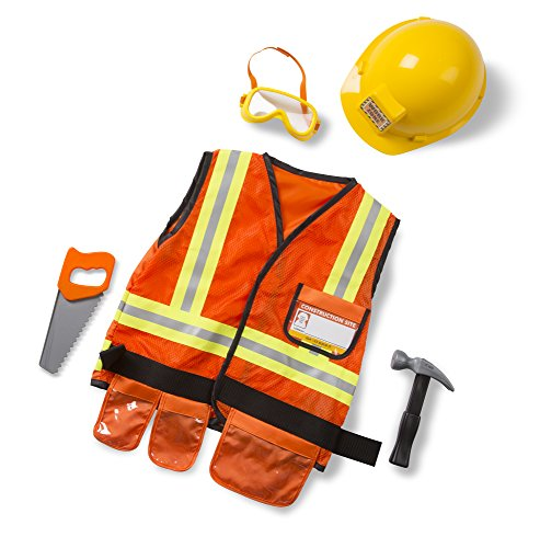 Melissa & Doug Construction Worker Role Play Costume Dress-Up Set (6 pcs) Frustration-Free Packaging