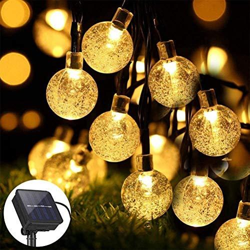 ZWOOS Solar Lichterkette, 7m 50 LED Lichterkette mit 8 Modi, wasserdichte Kristallkugel Lichterketten für Garten, Terrasse, Weihnachten (Warmweiß)