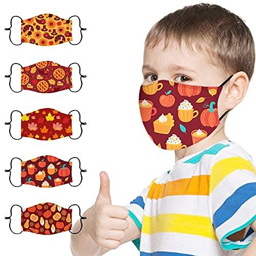 MEALLING 5 Stück Mundschutz Kinder Junge Mädchen Waschbar Baumwolle mit Ventil Atmungsaktive Wiederverwendbar Waschbar Staubdicht Multifunktional Halstuch Schlauchtuch Schlauchschal