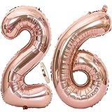 Feelairy 2 Ballon Numéros 26 Or Rose, 26 Ans Décoration Anniversaire, 40 Pouces Fête Ballons Géant Numero 26 Feuille D'Hélium Ballons Gonflable Chiffre Ballons pour La Décoration De Fête