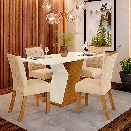 Conjunto Sala de Jantar Mesa 160cm Tampo MDF 4 Cadeiras Lupita Casa 812