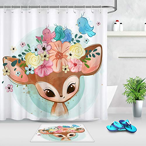 Cartoon Hirsch Blumen Girlande Vogel Duschvorhang Set 12 Haken für Duschvorhang wasserdichtes Badezimmerdekor