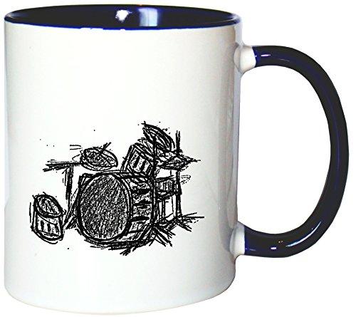 Mister Merchandise Kaffeetasse Becher Drums Drumset Drum Schlagzeug, Farbe: Weiß-Blau