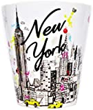 Sweet Gisele | New York City Latte Mug | Ceramic NYC Coffee Cup | Downtown Manhattan Skyline | Empire State Building & Times Square | Brooklyn Bridge | Novelty Gift Souvenir | 11 Fl. Oz (White/Multi)