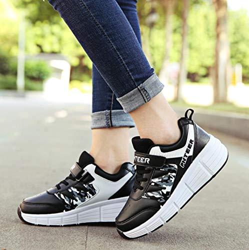 JTKDL Zapatillas con Ruedas Patines De Ruedas Mujeres Niñas Zapatos para Caminar Zapatos De Ejercicios Niños Hombres Deportes Al Aire Libre Gimnasia Zapatillas De Deporte Zapatillas De Skate,Black-36