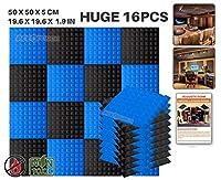 エースパンチ 新しい 16ピースセット黒と青 500 x 500 x 50 mm ピラミッド 東京防音 ポリウレタン 吸音材 アコースティックフォーム AP1034