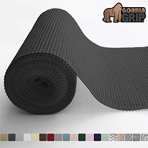 Gorilla Grip Original Drawer and Shelf Liner, Non Adhesive Roll, 17.5 Inch x 10 FT, Durable and Strong, Grip Liners for Drawers, Shelves, Cabinets, Storage, Kitchen and Desks, Black