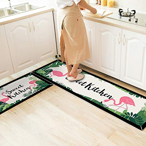 GOODJIA Mat Küche Teppiche Küchenläufer Waschbar Teppich Küchenmatte Teppich Läufer rutschfeste Ölbeweismatte Matte,2PCS rosa Fahrrad erinnert 7MM Dicke Küchenteppich