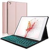 Boriyuanキーボードケースfor iPad 9.7 2018(6th Gen)、iPad 2017(5th Gen)、iPad Pro 9.7、iPad Air 2および1、iPadケース(取り外し可能バックライト付きキーボード(ローズゴールド)
