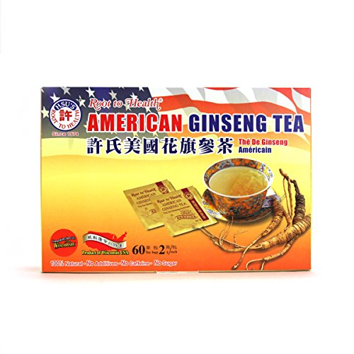 Hsu's Ginseng SKU 1039 | American Ginseng Tea, 60ct | Cultivated American Ginseng from Marathon County, Wisconsin USA | 许氏花旗参茶 | 60ct Box, 西洋参, B000153R4K