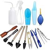 TOCYORIC 15 Stück Mini Pflanzen Werkzeug Set Gartenwerkzeug, Sukkulenten-Werkzeug, Mini-Gartenhandtransplantation, Sukkulenten-Werkzeuge, Miniatur-Pflanzen-Set für drinnen und drinnen