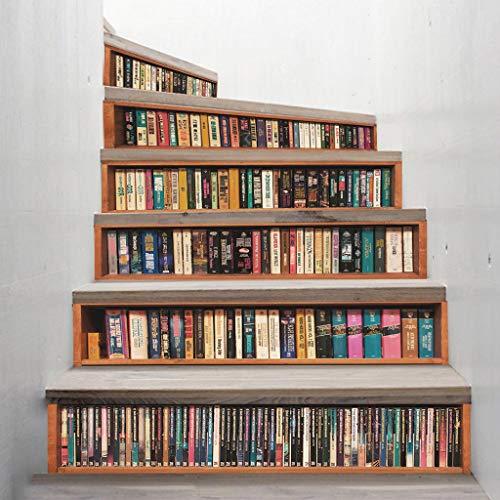 Youliy 6 x 3D-Buch selbstklebende Treppensteiger Aufkleber Treppenaufkleber Tapetenaufkleber Heimdekoration
