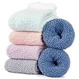 Hocerlu Calcetines Calentitos Mujer invierno - 5 Pares Calcetines Termicos Polar para Casa Dormir, Súper Suaves Lindo de Navidad Calcetines