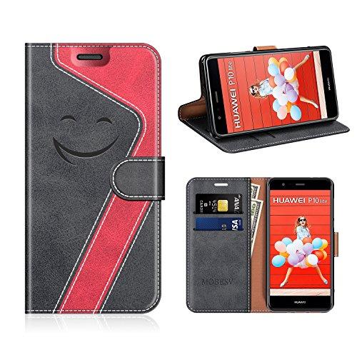 MOBESV Smiley Huawei P10 Lite Hülle Leder, Huawei P10 Lite Tasche Lederhülle/Wallet Hülle/Ledertasche Handyhülle/Schutzhülle für Huawei P10 Lite, Schwarz/Rot