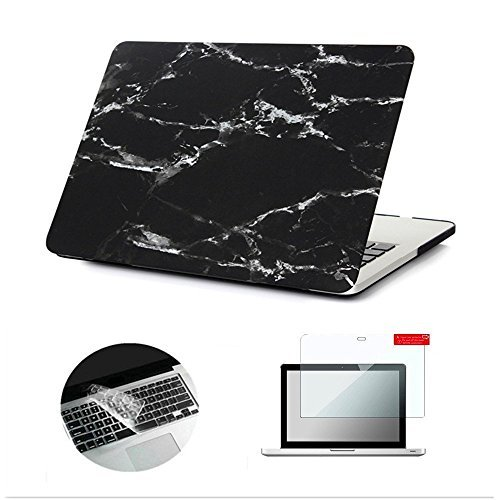 Macbook Pro 13 Case,Se7enline [3 in 1 bundle] Hard Shell Case Print Frosted Black Marble Pattern Rubber Coated Cover with Clear Silicone Keyboard Cover and Screen Protector