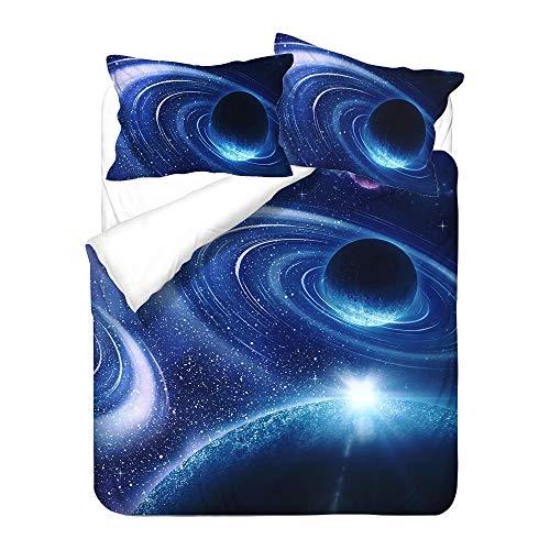 Sticker Superb. Bleu Blanc Noir Mystère Planète Cosmos Housse de Couette, Fille Garçon Enfants Cosmos Galaxie Étoile Parures de Lit avec Fermeture éclair Polyester Été Hiver (Beu Blanc 1,220 x 240cm)