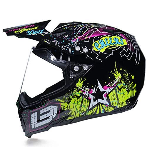 Motocross Rallye Lens Anti-UV veiligheidshelm voor motorfiets snelweg integraalhelm L Brilliant Black Big P