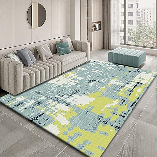 Alfombras Dormitorio Modernas Alfombra Suave Diseño gráfico Abstracto Minimalista Moderno Azul Amarillo Alfombras De Salon Grandes 100X150cm