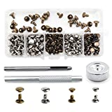 Bestgle 120 Sets Leather Rivets with Fixing Tool Kit, Double Cap Rivet Replacement Tubular Metal Studs Snap Fasten Kit for DIY Leather Jeans Clothing Craft Repairing Decoration (Silver,Bronze)