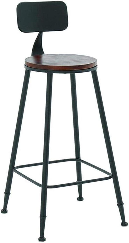 BARSTOOLRI Bar Chair, High Stool, European Retro Minimalist Style Round Solid Wood Seat Garden Counter Chair for Bar Cafe Tea Shop Home