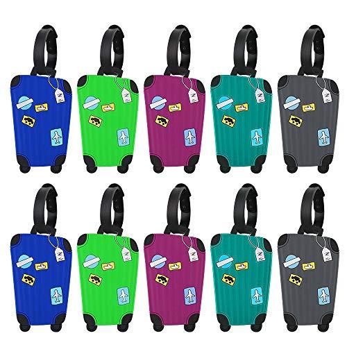 10 Piezas Etiquetas para Equipaje de Silicona Etiquetas de Identificador de Maletas de Viaje Etiquetas de Maletas de Avión en 5 Colores