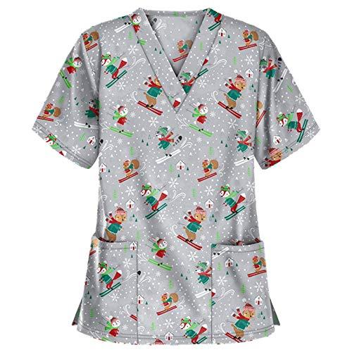 Weihnachten Krankenschwester Tops Oberteile Damen Pflege T-Shirt Cartoon Print Bluse Tunika Krankenhaus Uniform Arbeitskleidung Berufsbekleidung Kurzarm V-Ausschnitt Schlupfhemd