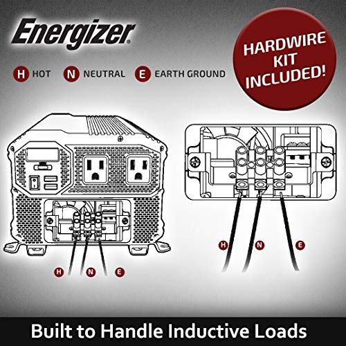 Energizer 4000 Watts Power Inverter, 12V to 110 Volts Modified Sine Wave Car Inverter, Dual AC Outlets, 2 USB Ports 2.4A ea and Hardwire Kit, Battery Cables Included - METLab Approved Under UL STD 458
