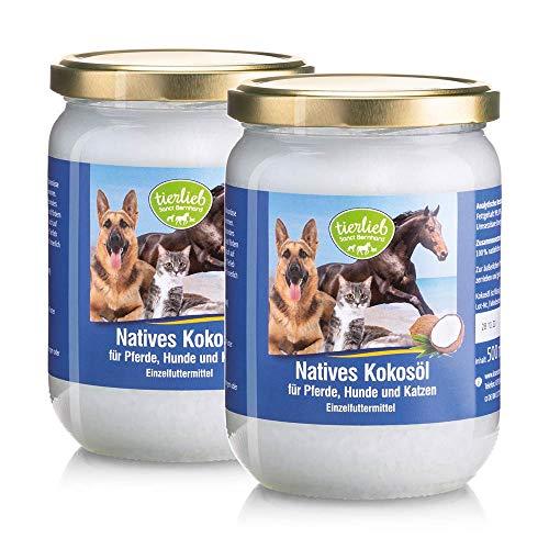 Sanct Bernhard tierlieb Natives Kokosöl für Pferde, Hunde und Katzen, aus kontrolliertem Anbau, rein mechanische Pressung, 2 Gläser je 500 ml