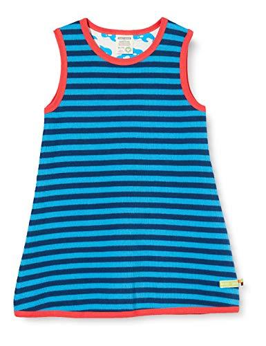 loud + proud Mädchen Kleid Ringel Kinderkleid, Ultramarine/Aqua, 74/80
