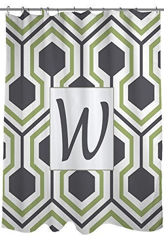 Manual Woodworkers & Weavers Shower Curtain, Monogrammed Letter W, Grey Honeycomb