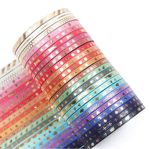 YUBBAEX Washi Tapes Set 24 Rotoli Nastro Adesivo Decorativo per Forniture Artigianali Fai da Te e Decorazioni (Lamina d'oro Skinny 24)