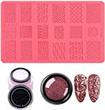 4D Sculpture Nail Art Mold Set, DIY Painting Carved Flowers Design Modeling Tool for Polish Nails Art Decorations Kit, 1pc Printing Template+Relief Nail Beauty Powder+Nail Crystal Gel