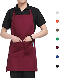 Esonmus Apron, Adjustable Kitchen Chef Apron, BBQ Restaurant Apron with 2 Pockets for Cooking Baking Gardening for Men Wom...