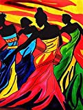 Kaliosy 5D Diamond Painting African Woman Color Dancing Sisters Sexy by Number Kits Paint with Diamonds Art, DIY Crystal Craft Full Drill Cross Stitch Decoration (12x16inch)