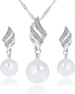 Deals Necklace+Earrings Jewelry Set Womens Luxury Spiral Shaped Pearl Stud Earrings&Necklace Jewelry by ZYooh