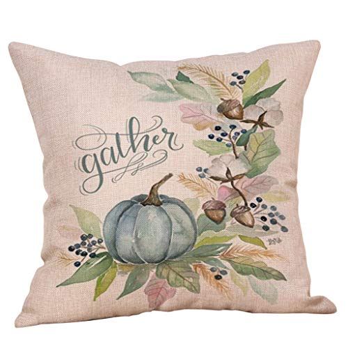 Zimuuy Halloween Pastoral Style Pumpkin Pillow Covers Halloween Decorations for Home Cushion Covers Multi-color (B)