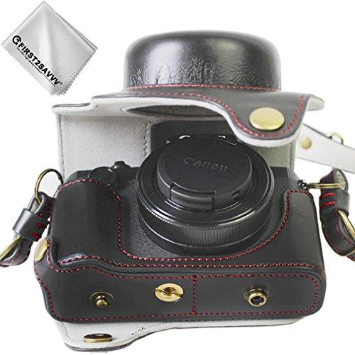 First2savvv schwarz hohe Qualität Ganzkörper- präzise Passform PU-Leder Kameratasche Fall Tasche Cover für Canon PowerShot G1 X Mark III mit Reinigungstuch - XJD-G1X Mark III-HH01