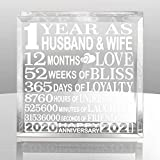 KATE POSH First, 1 Year as Husband and Wife Paperweight and Keepsake - Includes 2020 (Marriage Year) and 2021 (1st Anniversary Year) - 1st for Couples