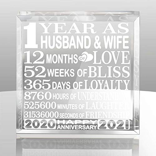 KATE POSH First, 1 Year as Husband and Wife Paperweight and Keepsake -...