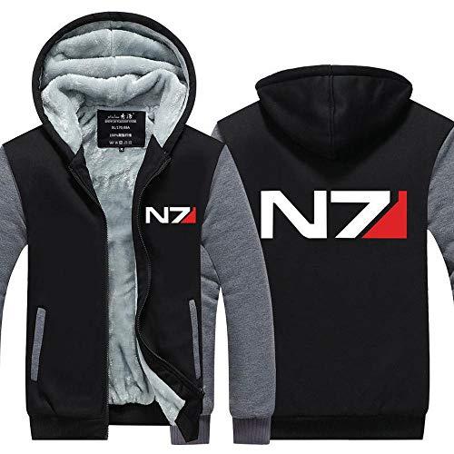 BINGFENG Hoodie Samtjacke - Mass Effect N7 Drucken Baseball Uniform - Männer Warm Beiläufige Sweatshirt Mit Reißverschluss Stitching Langarm Pullover Top -Teen Geschenk B-XL