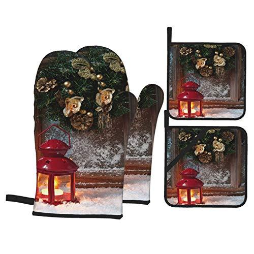Juego de 4 Guantes y Porta ollas para Horno Resistentes al Calor Ventana de Invierno de decoración de Navidad de Linterna ardiente para Hornear en la Cocina,microondas,Barbacoa