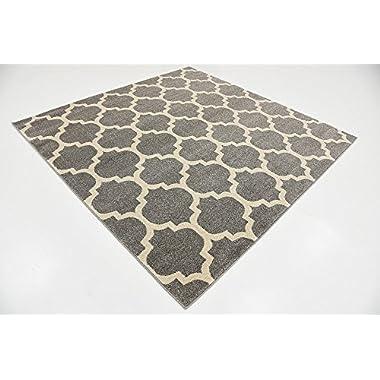 Unique Loom Trellis Collection Moroccan Lattice Dark Gray Square Rug (6' x 6')