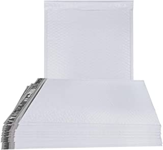 25 Pack Poly Bubble Mailers 10.25 x 15 Airjackets Padded envelopes 10 1/4 x 15. White large cushion mailers. Dual Peel and Seal & Zip tear strip. Shipping, mailing. Reusable Air jackets.