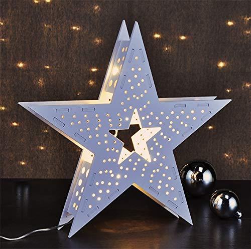 marion10020 LED Fenster-Beleuchtung, Holz-Stern Star, beleuchtet mit 10 warm-weißen LEDs, Weihnachten Weihnachts-Dekoration Deko, batteriebetrieben