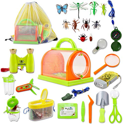 deAO 27pcs Outdoor Explorer Play Kit - Adventure STEM Backpack, Compass, Binocular & Camping Bug Catcher - Fun for Kids